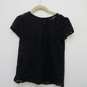 LOFT Embroidered Sheer Floral Top Black Cap Sleeve